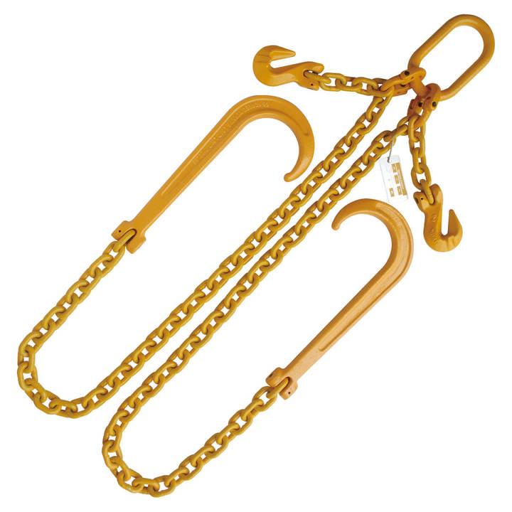 1/2 x 4' Gr  80 Adjustable V Bridle 15 J Hook Tow Wrecker
