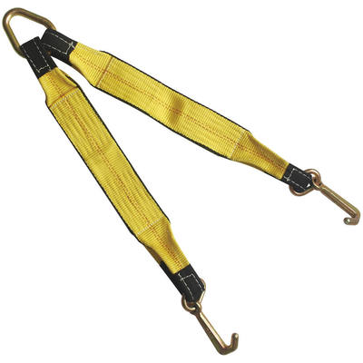 "3"" x 30"" Tow Strap V Bridle with Mini J Hook 2 Leg 5400 lbs WLL"