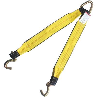 "3"" x 30"" Tow Strap V Bridle with Compact J Hook 2 Leg 5400 lbs W"