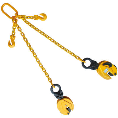 "Plate Clamp 1-1/2T with 3/8""X6' Chain Sling Double Leg"