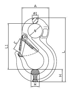 Grade 80 Eye Sling Hook Drawing