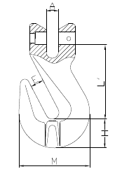 Grade 100 Clevis Grab Hook Drawing