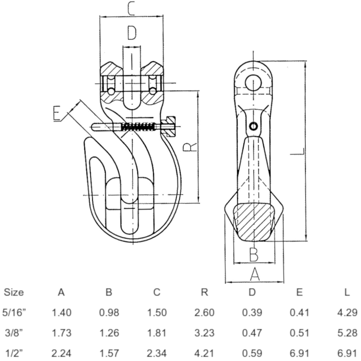 Grade 100 Eye Grab Hook Locking Pin Drawing