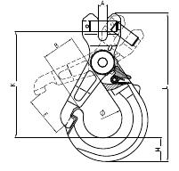 Grade 100 Clevis Self Locking Hook Drawing