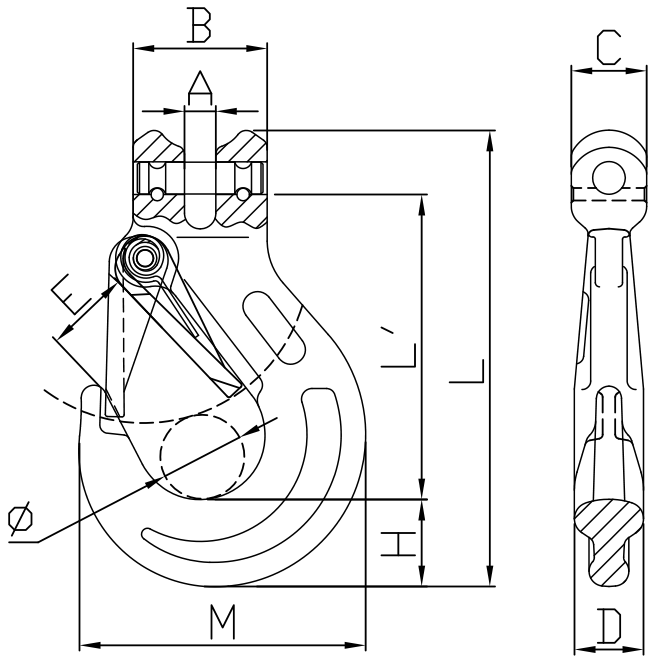 Grade 100 Clevis Sling Hook Safety Latch Drawing