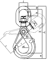 Grade 100 Swivel Self Locking Hook Drawing