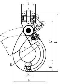 Grade 80 Clevis Self Locking Hook Drawing