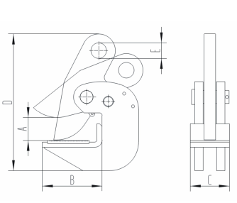 Horizontal Plate Beam Clamp Drawing