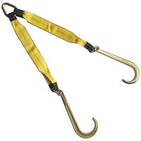 "3"" x 30"" Tow Strap V Bridle with 15"" J Hook 2 Leg 5400 lbs WLL"